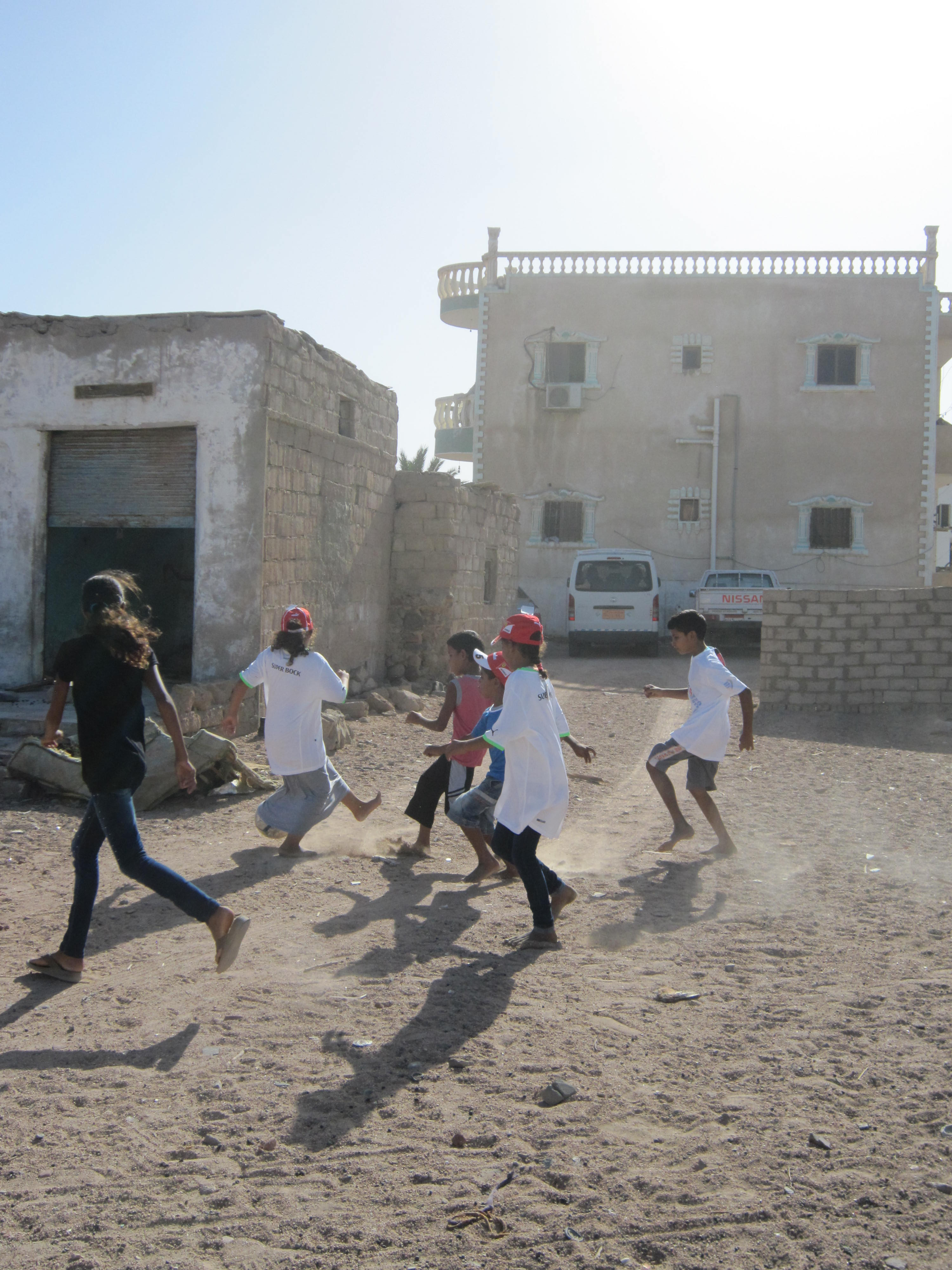 Sports clothes for bedouin children in Dahab, Egypt